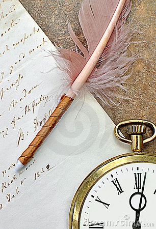 Old clock,quill and letter