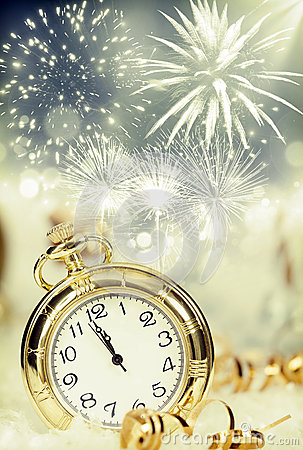 Free Old Clock With Fireworks And Holiday Lights Stock Photography - 61258602