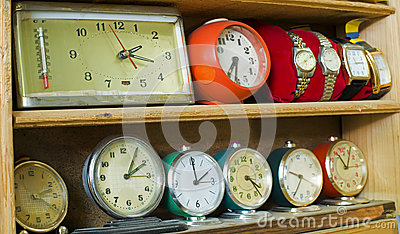 Old clocks on a shelf