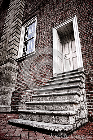Old Colonial Historic Brick Building Steps to Door