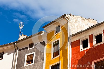 Old color houses facades