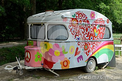 Old and colorful caravan.
