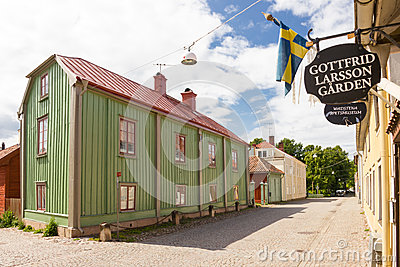 Old Colorful timber buildings. Vadstena. Sweden Editorial Stock Image