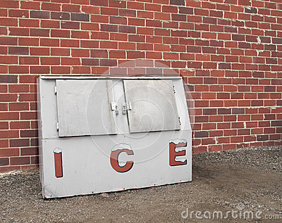 Old commercial ice freezer.