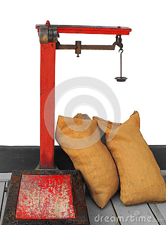 Old commercial weight balance scale isolated.