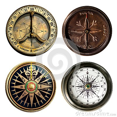 Free Old Compass Collection Isolated On White Background. Royalty Free Stock Images - 111335749