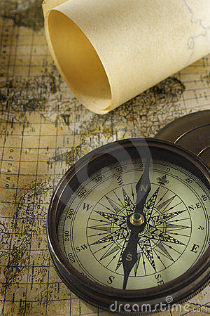Free Old Compass Over Map Royalty Free Stock Photos - 22383848