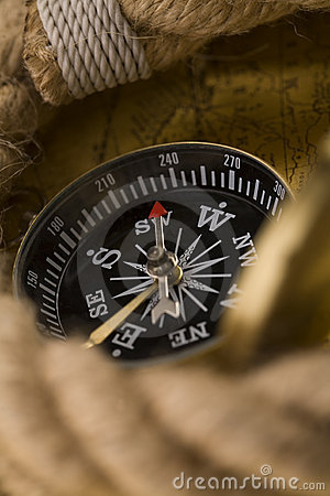 Old compass and rope