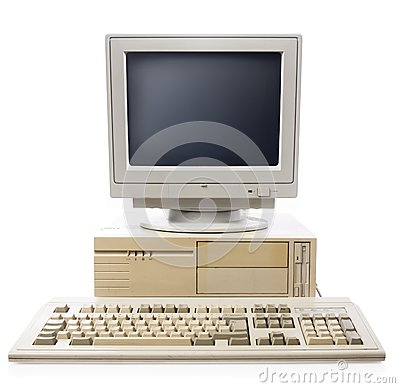 Free Old Computer, Keyboard CPU And Monitor Stock Photos - 25350293