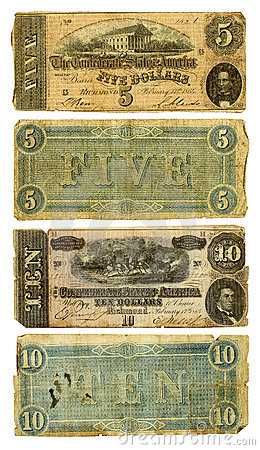 Free Old Confederate Five And Ten Dollar Bills Royalty Free Stock Images - 18023929