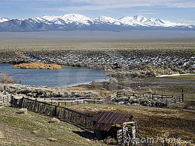 Old corral and pond in north central Nevada