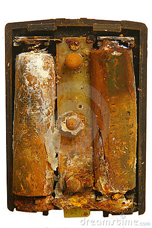 Old corroded battery cells