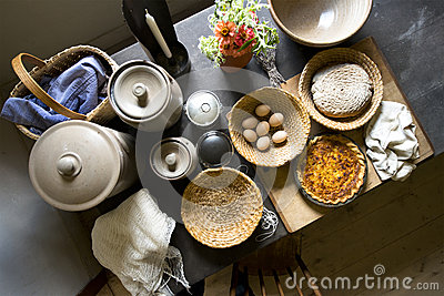 Old Country Farm Kitchen Home Food Cooking Royalty Free