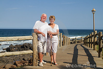 Old couple on beach