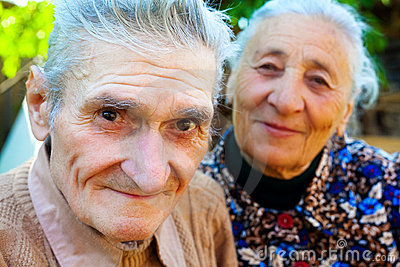 Old couple - two happy seniors