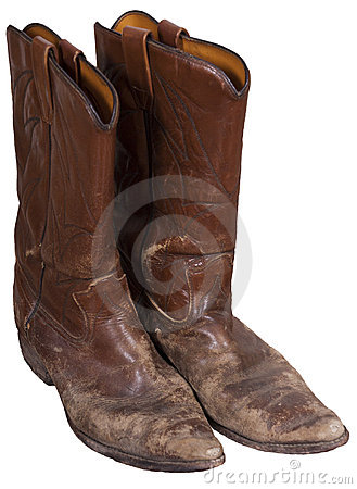 Old Cowboy Boots, Western Wear, Isolated on White