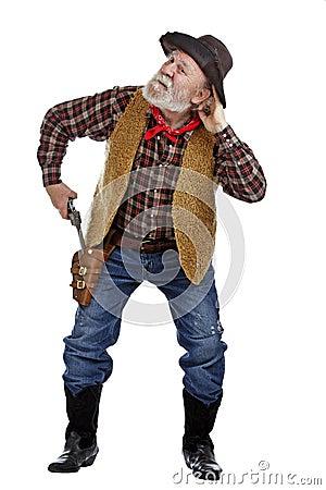 Old cowboy draws his gun and listens
