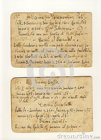 Old cream receipts