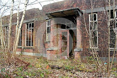 Old, creepy, abandoned building.