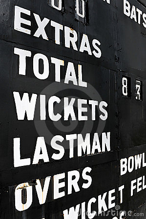 Old cricket scoreboard