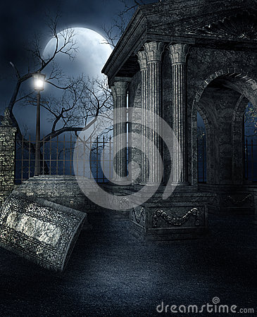 Old crypt in a gothic graveyard