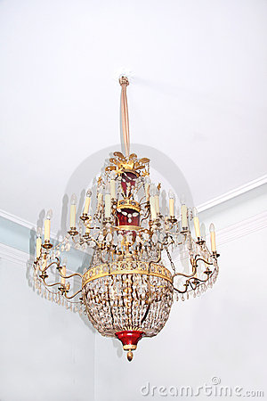 Old crystal chandelier.