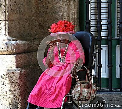 Old Cuban lady with a Cuban cigar Editorial Stock Photo