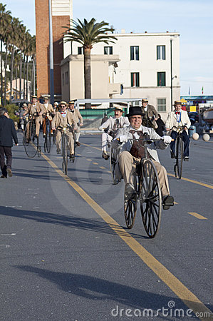 Old cycle cycling through history event in Imperia Editorial Image