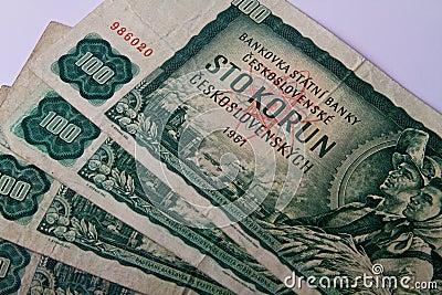 Old Czechoslovak banknotes