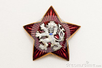 Old czechoslovakia national symbol in red star