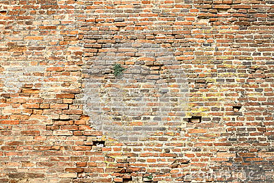 Old damaged exterior brick wall stock photo image 65932009 for Time saver details for exterior wall design