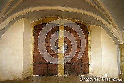 Old dark double door
