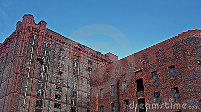 Old derelict victorian tobacco warehouse