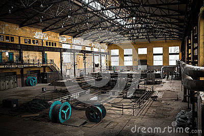 Old desolate metallurgical firm inside space