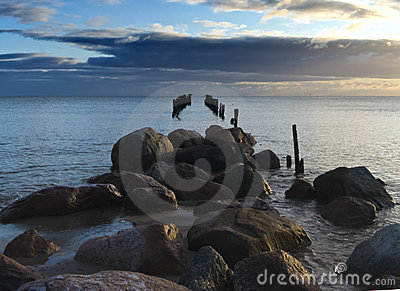 Old Destroyed Wharf, Gulf Of Riga, Latvia Royalty Free Stock Photos - Image: 23517578