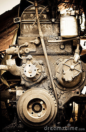 Old diesel engine close-up