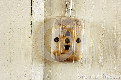 Old dirty electrical outlets