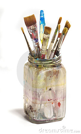 Old Dirty Jar of Paint Brushes