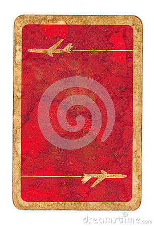 Old dirty used playing card red paper cover background with aircraft