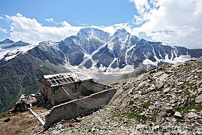 Old disturbed house in Caucasus mountains