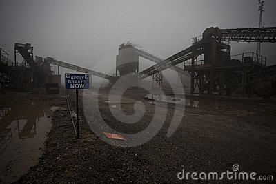 Old disused quarry in the fog