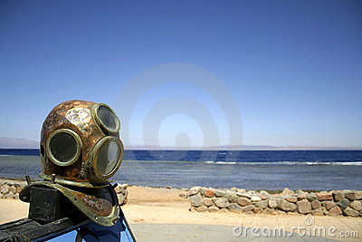 Old diving helmet red sea