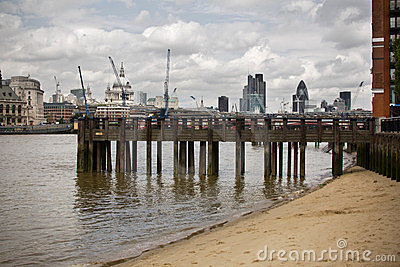 Old dock in center of London, UK