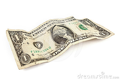 Old dollar bill over white