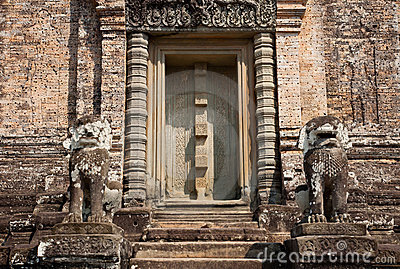 Old door at Angkor Wat, Cambodia