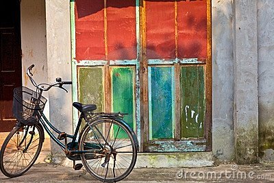 Old door and bicycle