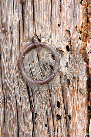 Old Door Ring on a Wood Door
