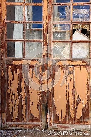 Old door with textured paint