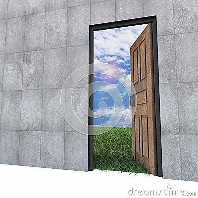 Old door to new world.