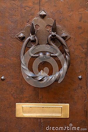 Free Old Door With Metallic Handle Knocker Royalty Free Stock Photos - 24542168
